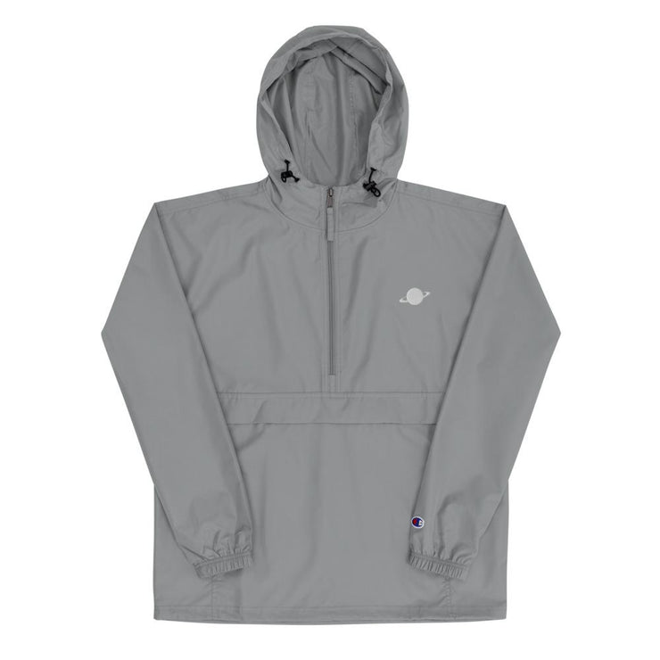 grey champion jacket with white saturn logo embroidered on chest