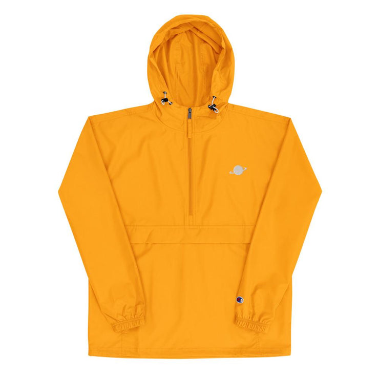 yellow champion windbreaker with nineplanets logo on chest
