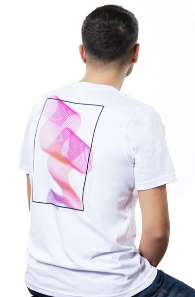 white t-shirt with neon-coloured backprint showing purple retro colors