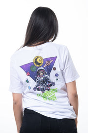 white t-shirt with colorful backprint showing a monkey and the planets of our solar system