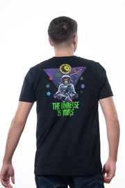 "black t-shirt with backprint showing the text ""The universe is yours"""