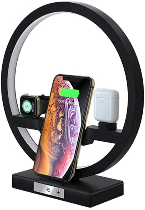 Wireless Charger with Nightlight, 3 in 1 Charging Station Holder for Apple Watch, Airpods, Fast Wireless Charger for iPhone 11/11 Pro/Xs Max/XR/X/8 Plus, Samsung S10 /S9 /S8/S7