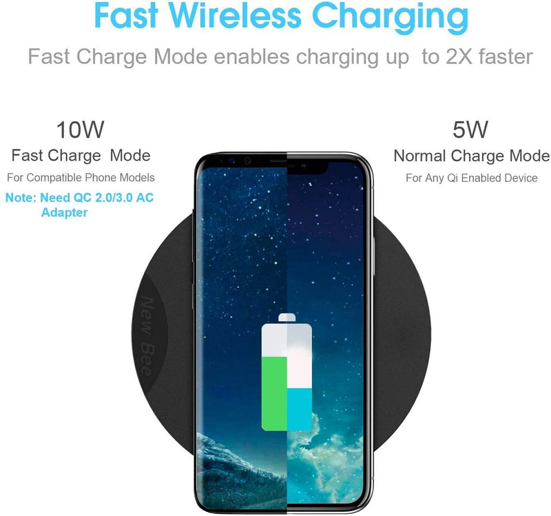 Wireless Charging with Headphone Stand with LED Indicator (Black)Wireless Charger - Madshot