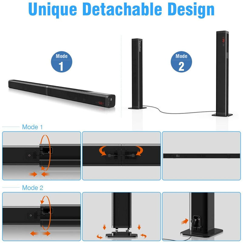 Sound Bar Speaker with Subwoofer, Detachable 90W 2.1 Channel in Bluetooth V5.0 Remote ControlSoundbar - Madshot