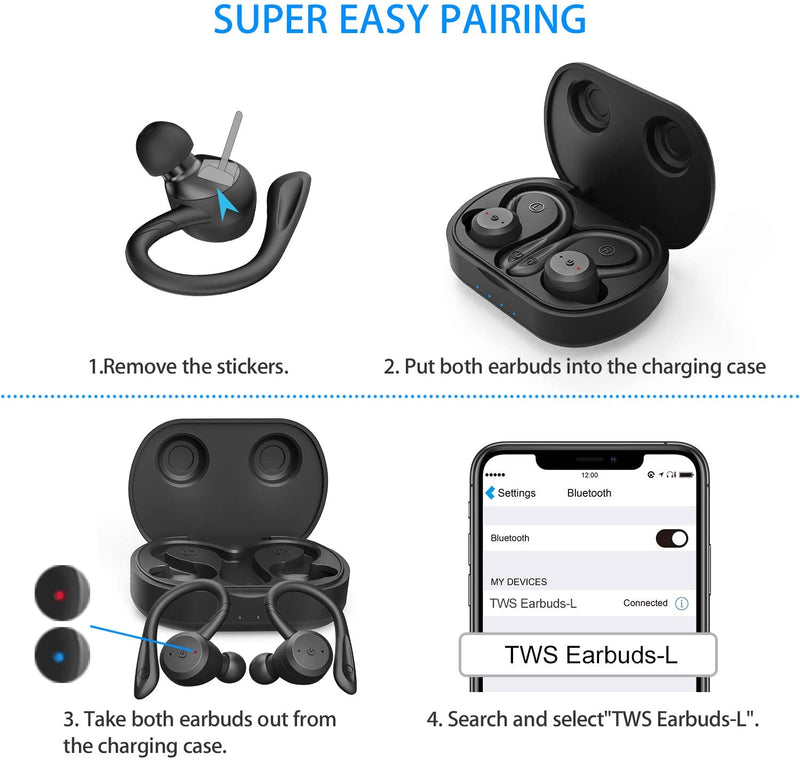 Bass Sound TWS EarBuds Over Ear Hook Sweatproof with Mic & Charging CaseEarphone - Madshot