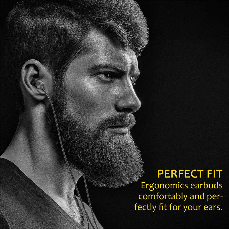 Earphones Noise Isolating in-Ear, Pure Sound and Powerful Bass with High Sensitivity Micro and Volume Control