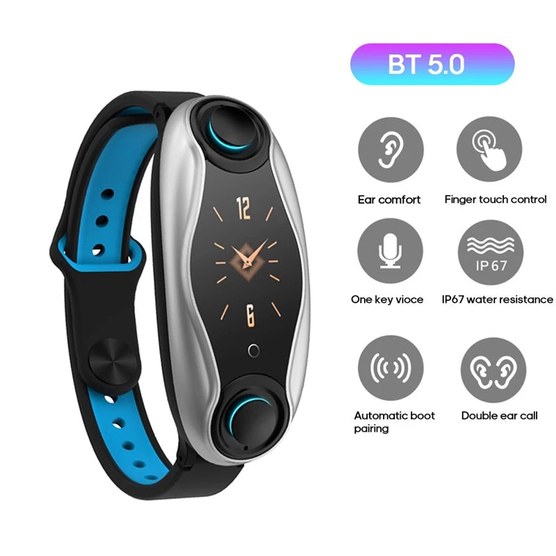 Smart Bracelet Earbuds - 2 in 1 Combo Running Music Wristband Heart Rate TWSEarbuds Blue - Madshot