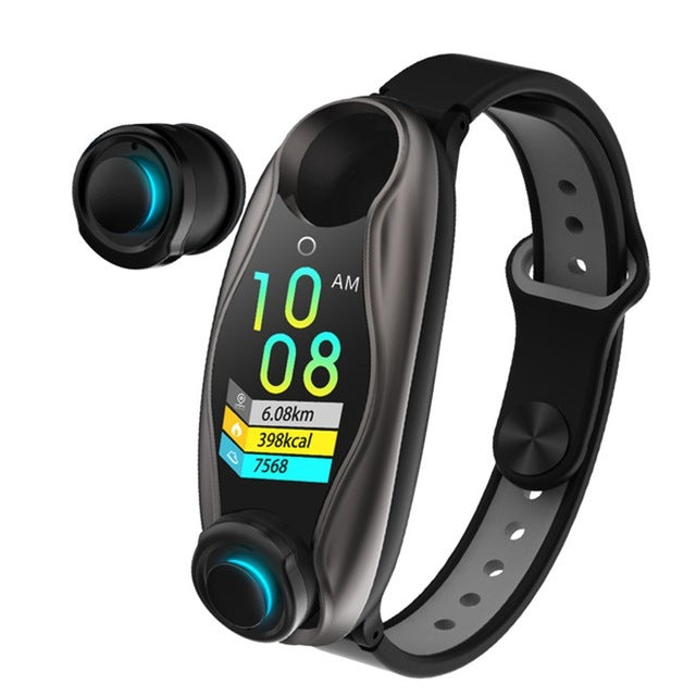 Smart Bracelet Earbuds - 2 in 1 Combo Running Music Wristband Heart Rate TWSEarbuds Black - Madshot