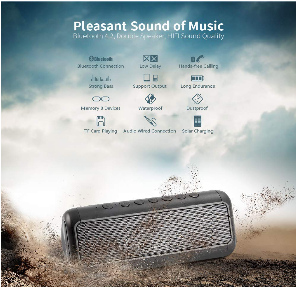Solar Bluetooth Speaker with 5000mAh Power Bank