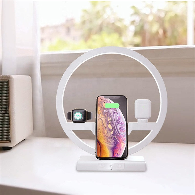 [Wireless charging station] Remove the smartphone shell to charge. Place the Air Pod and Apple Watch on both sides of the charging station, and then charge them through the USB port at the bottom of the light (for our special design, the original data cable is strongly recommended). Keep the table tidy and say goodbye to tangled wires and messy cables.