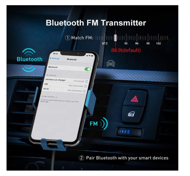 Wireless Car Charger 3 in 1 Mount with Bluetooth FM Transmitter Car 10W Fast ChargeCar & Vehicle Electronics - Madshot