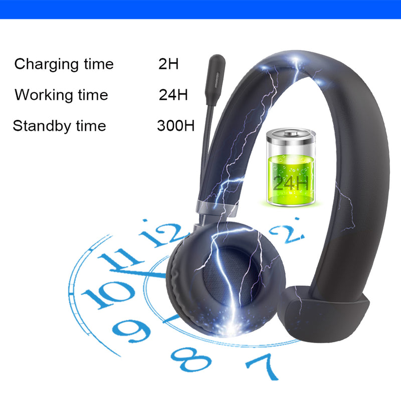 Bluetooth Headset 5.0 - Pro 24Hrs Talktime Noise Cancelling Wireless - Madshot