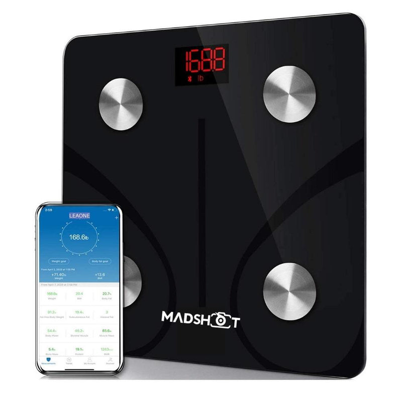 Bluetooth Smart BMI Digital Body Scale - Body composition analyzer with smartphone applicationSmart Scale Black - Madshot