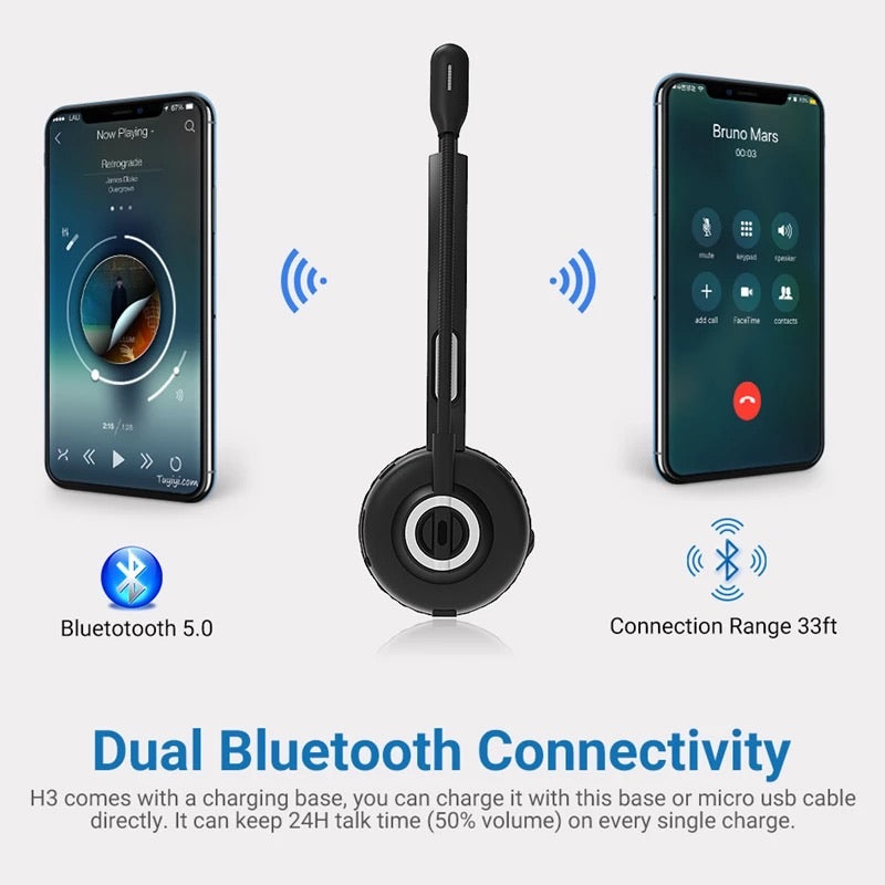 Pro Trucker Bluetooth Wireless Headset | Noise Cancelling (with charging dock)Bluetooth Headset - Madshot