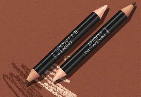 Eyebrow pencil drawn on brown background.