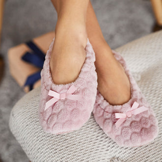 Faux-Fur Non-Slip Slipper Socks Pink