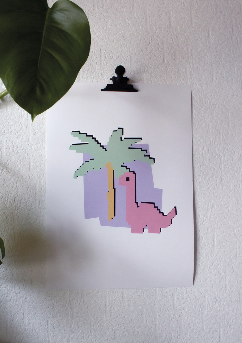 PIXEL-DINO POSTER DIN-A3