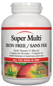 Natural Factors Super Multi Iron Free 90t