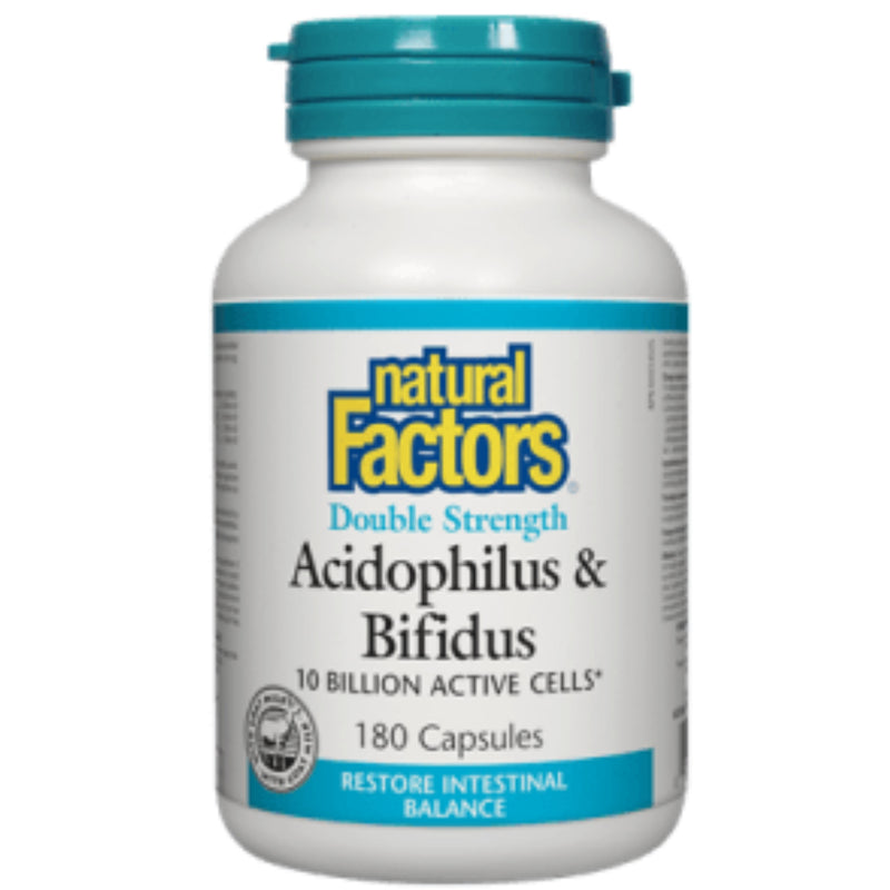 Natural Factors Acidophilus & Bifidus Double Strength 10 billion active cells 180caps