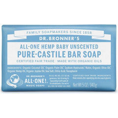 Dr.Bronner's Baby Unscented Pure-Castile Soap Bar 140g
