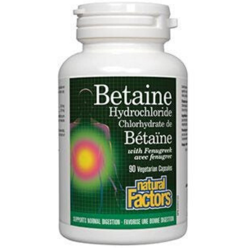 Natural Factors Betaine Hydrochloride With Fenugreek 90vcaps