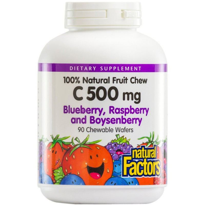 Natural Factors C 500mg Blueberry, Raspberry, Boysenberry 90 chewables