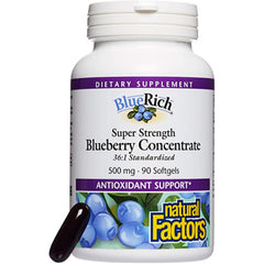 Natural Factors Blueberry Rich 36: 1 500mg 90gels