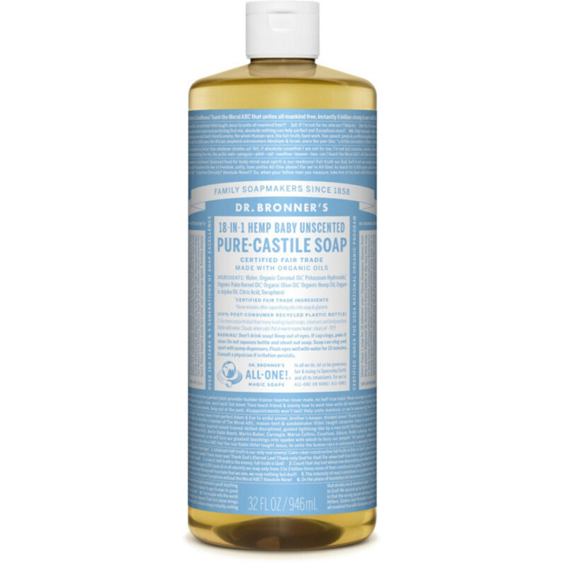 Dr.Bronner's Baby Unscented Pure Castile Soap 946ml