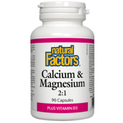 Natural Factors Calcium Magnesium 2:1 with vitd3 90caps