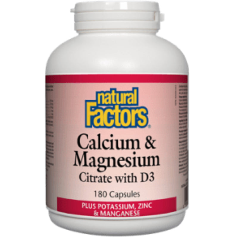 Natural Factors Calcium Magnesium Citrate with vitd3 180tabs