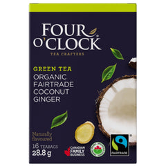 Four O'Clock Organic Coconut Ginger 16 Tea Bags