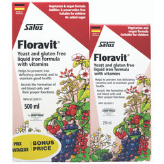 Salus Floravit Yeast & Gluten Free Liquid Iron Formula DUO Pack 250+500ml