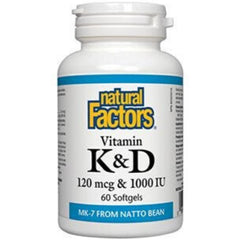 Natural Factors K&D 120mcg & 1000IU 60sgels