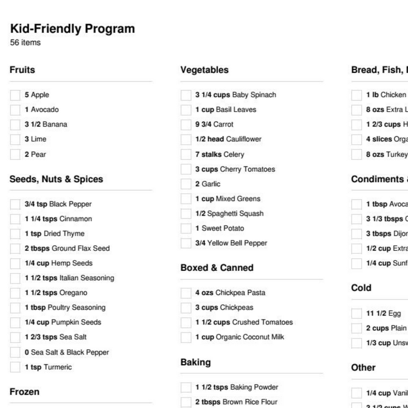 Kid-Friendly Meal Plan Program ( 1 Week)(1 Person)