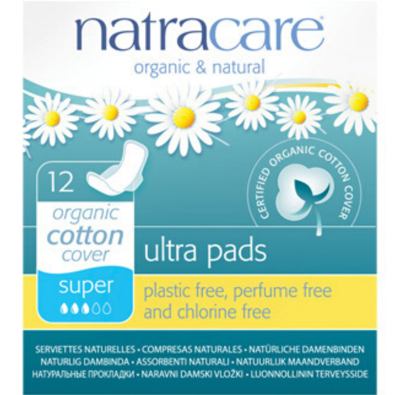 Natracare 12 Organic Cotton Super Ultra Pads