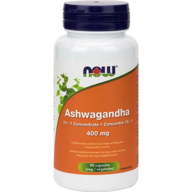 Now Ashwagandha 400mg 15:1 concentrate 90caps