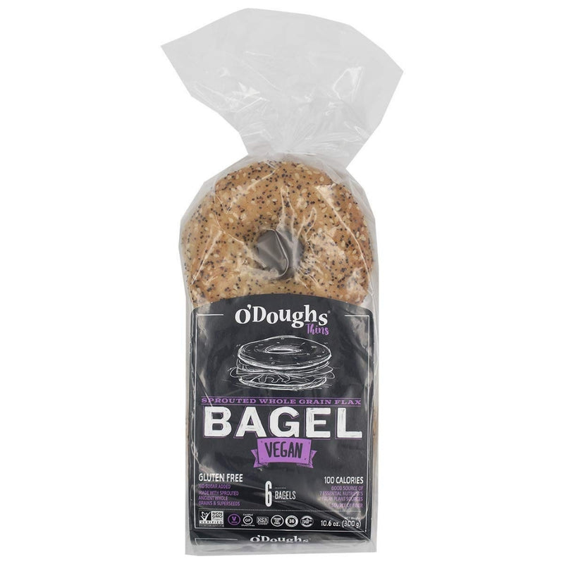 O'Doughs Vegan Sprouted Whole Grain Flax Bagel 300g