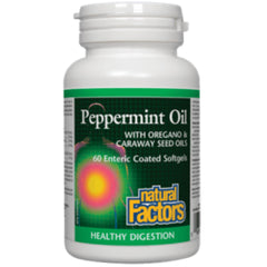Natural Factors Peppermint Oil with Oregano & Caraway Seed oils 60sgels