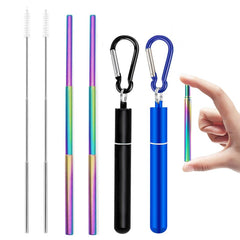 Telescopic Metal Reusable Drinking Straw with Case and Brush for Travel