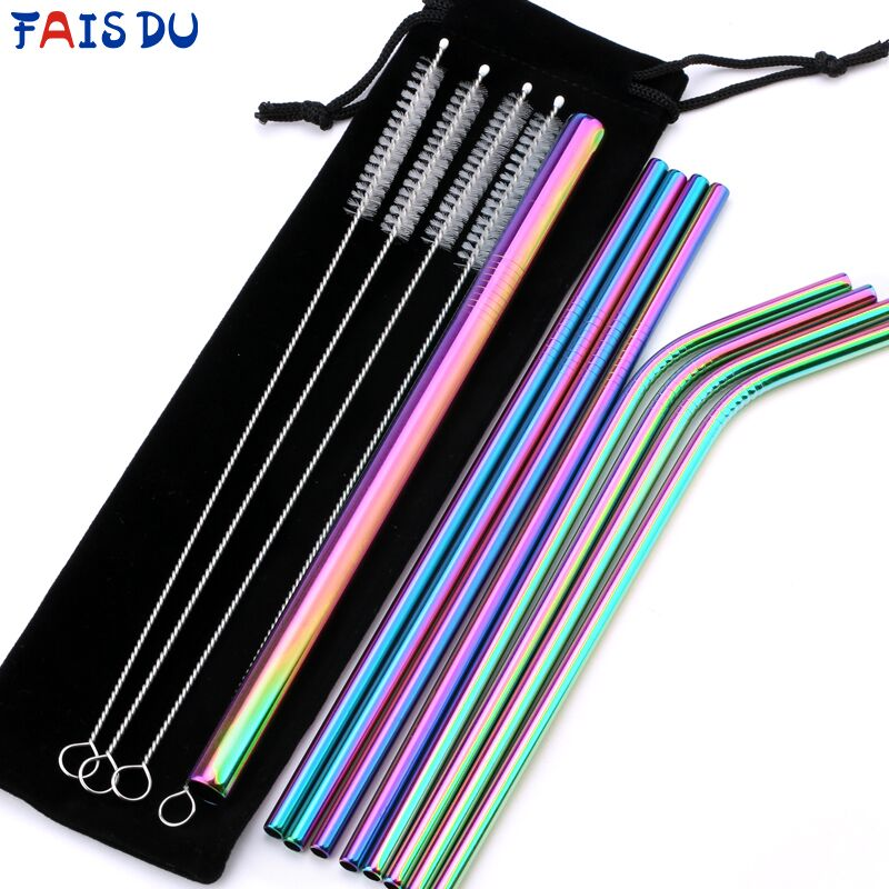 14pcs Reusable Stainless Steel Straws Set + Cleaning Brushes