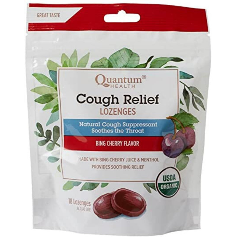 Quantum Health Cough Relief Organic 18 Lozenges Bing Cherry