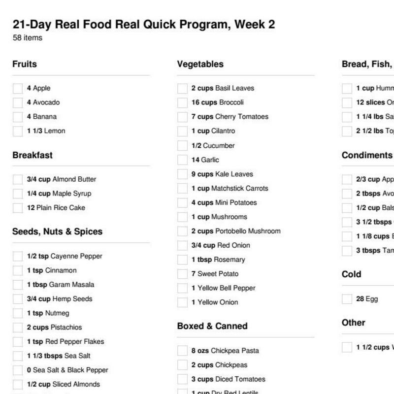 21-Day Real Food Real Quick Meal Plan Program (3 Weeks)(2 Person)