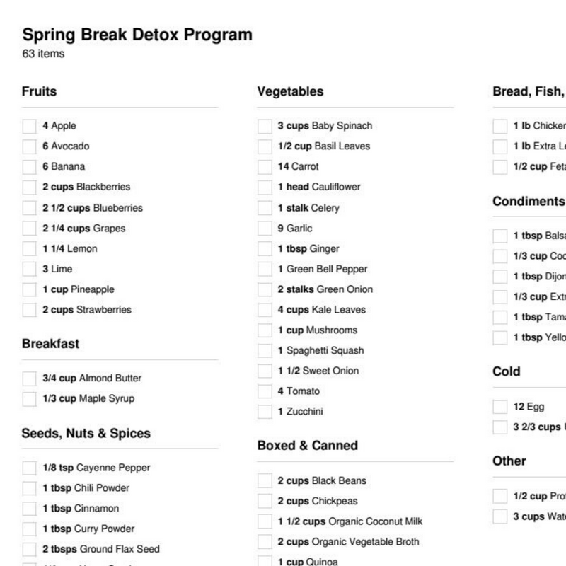 Spring Break Detox Program (1 Week)