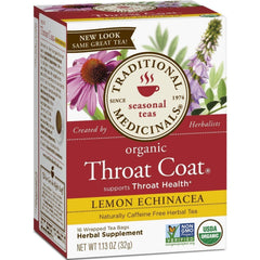 Traditional Medicinals Throat Coat Lemon Echinacea 20 Tea Bags