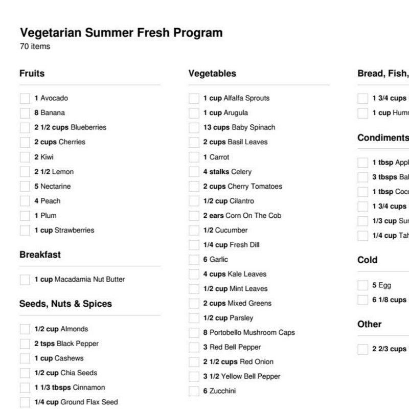 Vegetarian Summer Fresh Program (1 Week)