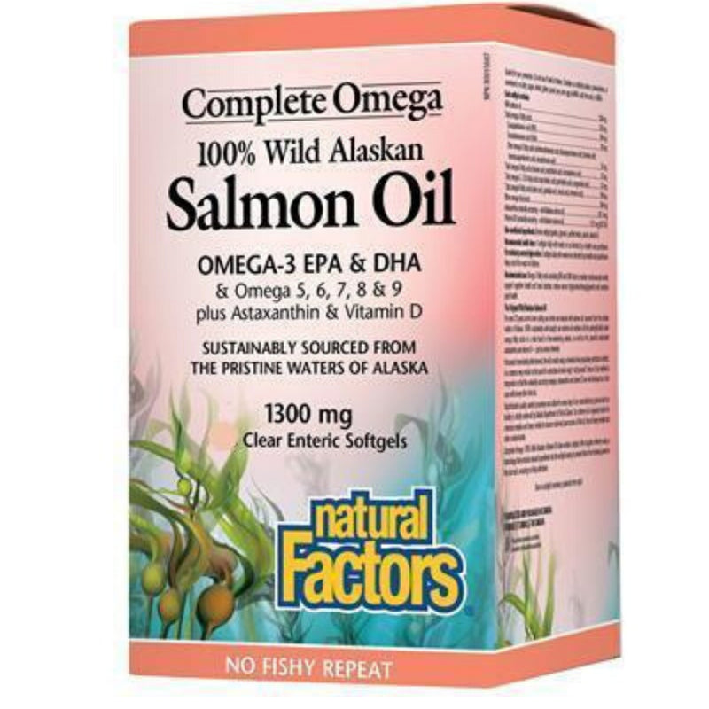 Natural Factors Wild Alaskan Salmon Oil 1300mg 90sgels