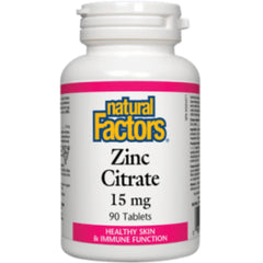 Citrate de zinc Natural Factors 15 mg 90 comprimés