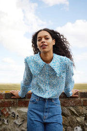 Misha - Driving Miss Daisy Blue Long Sleeve Blouse with Frill Collar