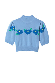 Nell -  Flower Embroidery Blue