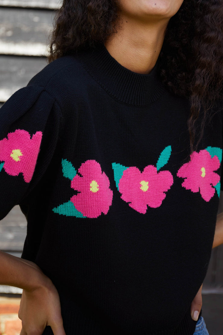 Nell - Flower Embroidery Black High Neck Jumper